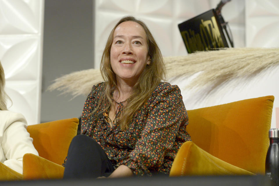 LOS ANGELES, CALIFORNIA - OCTOBER 17: Karyn Kusama speaks onstage during the Free The Work Launch at NeueHouse Hollywood on October 17, 2019 in Los Angeles, California. (Photo by Presley Ann/Getty Images for Free The Work)