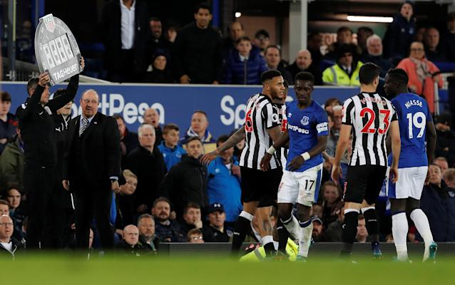 "Soccer Football - Premier League - Everton v Newcastle United - Goodison Park, Liverpool, Britain - April 23, 2018 Everton's Idrissa Gueye looks on after clashing with Newcastle United's Kenedy (hidden) Action Images via Reuters/Lee Smith EDITORIAL USE ONLY. No use with unauthorized audio, video, data, fixture lists, club/league logos or ""live"" services. Online in-match use limited to 75 images, no video emulation. No use in betting, games or single club/league/player publications. Please contact your account representative for further details."