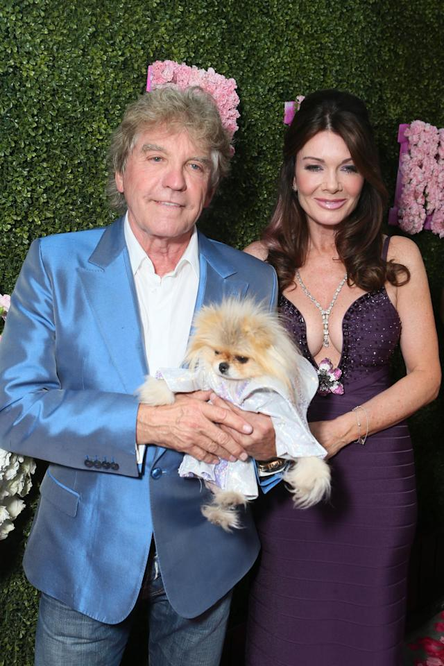 Ken Todd, Lisa Vanderpump and Giggy at the launch of PUMP Lounge in West Hollywood on Tuesday, May 13, 2014 in West Hollywood, CA. (Photo by Alexandra Wyman/Invision for PUMP Lounge/AP Images)