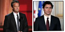 """<p>Two unlikely schoolmates occur in the form of Matthew Perry - aka Friends' Chandler Bing - and Canadian Prime Minister Justin Trudeau who attended school in Ottawa together. However the pair are actually even more connected as Perry's mother worked for Trudeau's father - another former Prime Minister of Canada.</p><p>In 2017, while appearing on <a href=""""https://www.youtube.com/watch?v=vWZsF3bUNhs"""" rel=""""nofollow noopener"""" target=""""_blank"""" data-ylk=""""slk:Jimmy Kimmel Live"""" class=""""link rapid-noclick-resp"""">Jimmy Kimmel Live</a>, Perry admitted that he and Trudeau weren't the best of friends at school and even got into a physical scrap. </p><p>'We actually beat up Justin Trudeau,' said a remorseful Perry. 'I think he was excelling in a sport that we weren't so it was pure jealousy... I think he was the only kid in school that we could beat up. I'm not bragging about this, this is terrible. I was a stupid kid.'</p><p>Trudeau responded by taking to Twitter and jokingly challenging Perry to a rematch: 'I've been giving it some thought, and you know what, who hasn't wanted to punch Chandler? How about a rematch <br>@MatthewPerry?'</p><p>To which Perry (sensibly) responded: 'I think I will pass at your request for a rematch kind sir (given that you currently have an army at your disposal). [sic]'<br></p>"""