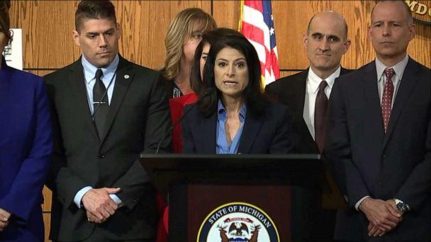 PHOTO: Michigan Attorney General Dana Nessel announces charges stemming from her office's investigation into clergy sexual abuse in the state's Catholic dioceses, during a press conference in Lansing, Mich., May 24, 2019. (WXYZ)