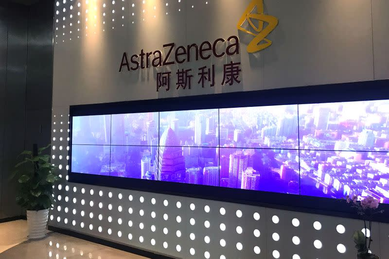 The logo of the British pharmaceutical company AstraZeneca is seen at the company's China Commercial Innovation Centre (CCIC) in Wuxi, Jiangsu