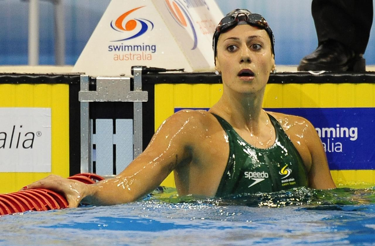 Australian swimmer Stephanie Rice reacts after winning her heat of the women's 200m freestyle during the Australian Olympic selection trials swim meet in Adelaide on March 17, 2012.           IMAGE STRICTLY RESTRICTED TO EDITORIAL USE - STRICTLY NO COMMERCIAL USE              AFP PHOTO/ DAVID MARIUZ (Photo credit should read DAVID MARIUZ/AFP/Getty Images)