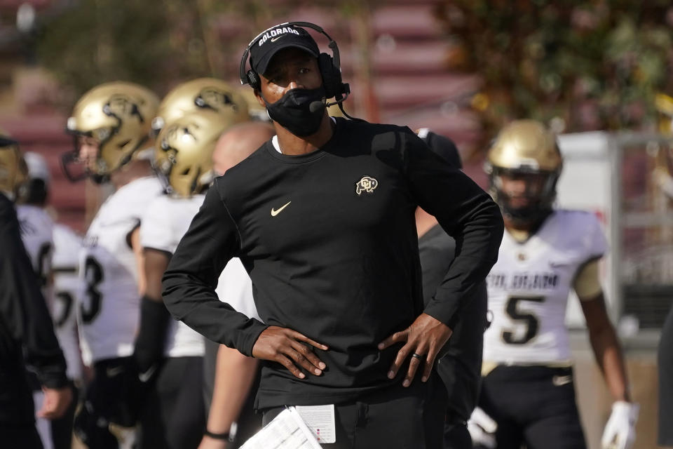 Colorado head coach Karl Dorrell stands on the sideline during the first half of an NCAA college football game against Stanford in Stanford, Calif., Saturday, Nov. 14, 2020. (AP Photo/Jeff Chiu)