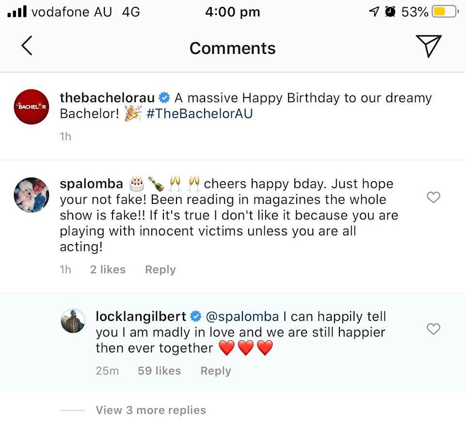 Bachelor Instagram Locky confirms he is 'madly in love'