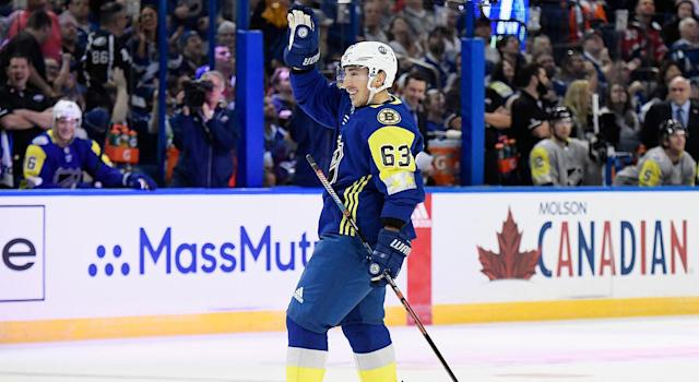 """<a class=""""link rapid-noclick-resp"""" href=""""/nhl/players/4351/"""" data-ylk=""""slk:Brad Marchand"""">Brad Marchand</a> was a fan """"favorite"""" at the NHL All-Star Game. (Brian Babineau/NHLI via Getty Images)"""