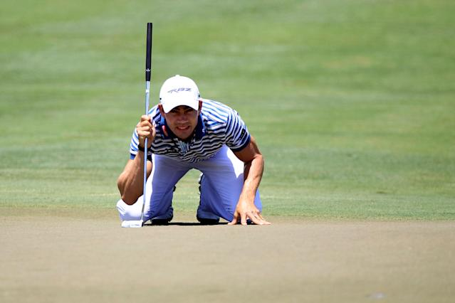 PONTE VEDRA BEACH, FL - MAY 10: Camilo Villegas of Columbia lines up his putt on the second green during the first round of THE PLAYERS Championship held at THE PLAYERS Stadium course at TPC Sawgrass on May 10, 2012 in Ponte Vedra Beach, Florida. (Photo by Sam Greenwood/Getty Images)
