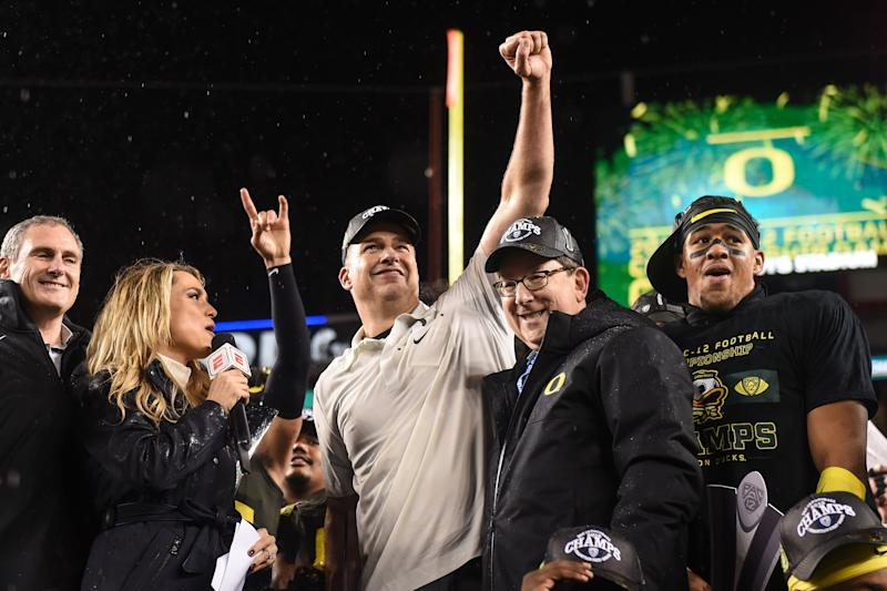 Oregon will have to settle for the Rose Bowl after winning the Pac-12 because of two regular-season losses. (Cody Glenn/Icon Sports/Getty Images)