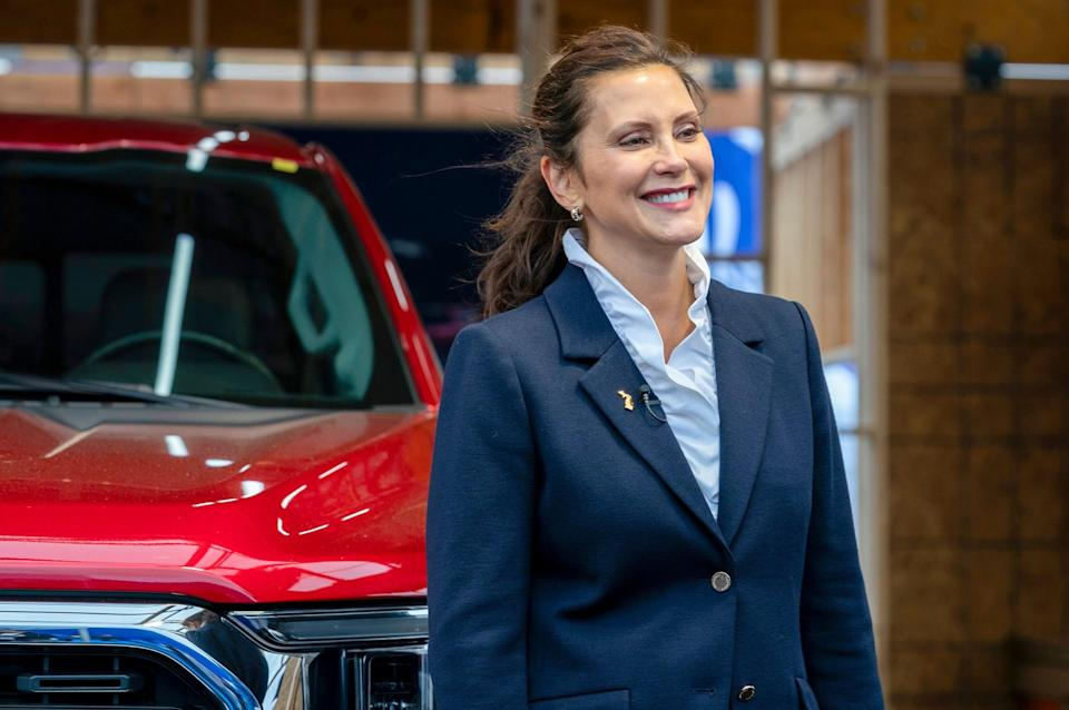 Michigan Gov. Gretchen Whitmer speaks to the media as she tours Motor Bella at M1 Concourse in Pontiac Tuesday, Sept. 21, 2021.