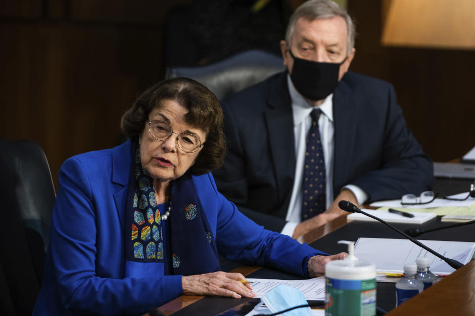 Sen. Dianne Feinstein, D-Calif., speaks during a confirmation hearing for Supreme Court nominee Amy Coney Barrett before the Senate Judiciary Committee, Monday, Oct. 12, 2020, on Capitol Hill in Washington. (Demetrius Freeman/The Washington Post via AP, Pool)