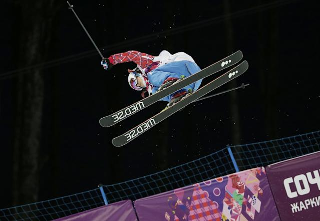 France's Marie Martinod gets air during women's ski halfpipe qualifying at the Rosa Khutor Extreme Park, at the 2014 Winter Olympics, Thursday, Feb. 20, 2014, in Krasnaya Polyana, Russia. (AP Photo/Andy Wong)