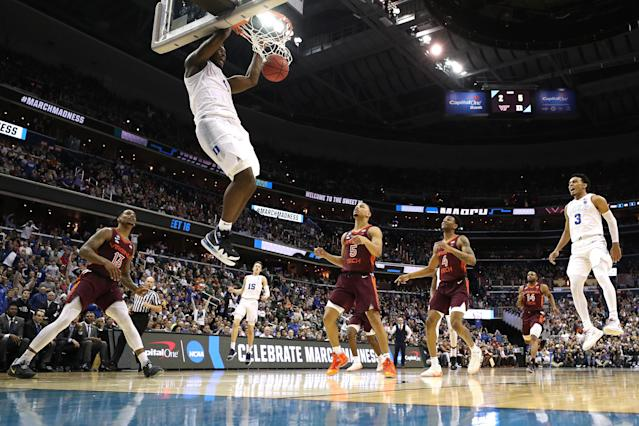 <p>Zion Williamson #1 of the Duke Blue Devils dunks the ball against the Virginia Tech Hokies during the second half in the East Regional game of the 2019 NCAA Men's Basketball Tournament at Capital One Arena on March 29, 2019 in Washington, DC. (Photo by Patrick Smith/Getty Images) </p>