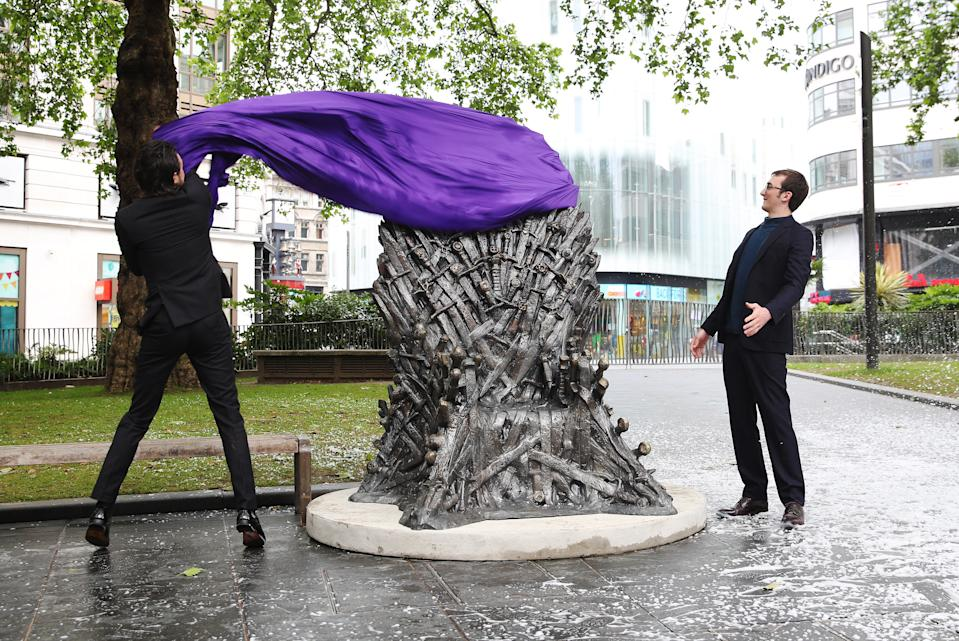 Isaac Hempstead Wright helped unveiled the Iron Throne in Leicester Square. (Joe Pepler/PinPep)