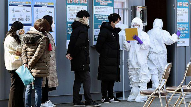 PHOTO: People suspected of being infected with the new coronavirus wait to be tested at a medical center in Daegu, South Korea, Feb. 20, 2020. (Lee Moo-ryul/AP)
