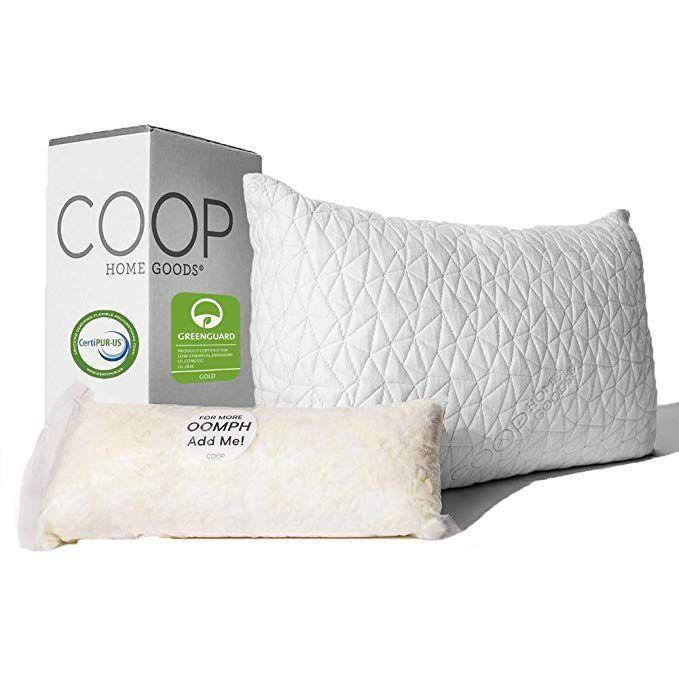 """<p><strong>Coop Home Goods</strong></p><p>amazon.com</p><p><strong>$58.69</strong></p><p><a href=""""https://www.amazon.com/dp/B00EINBSEW?tag=syn-yahoo-20&ascsubtag=%5Bartid%7C10055.g.30705146%5Bsrc%7Cyahoo-us"""" rel=""""nofollow noopener"""" target=""""_blank"""" data-ylk=""""slk:Shop Now"""" class=""""link rapid-noclick-resp"""">Shop Now</a></p><p>Neck pain from sleeping is typically caused by poor spine alignment. The Coop Home Goods pillow <strong>allows you to easily adjust the amount of fill, so you can have the perfect height to keep your neck aligned</strong>. This pillow not only received the top score in our test, but also has 40,000 rave Amazon reviews too. None of the testers reported feeling sore after sleeping, but all found the pillow comfortable and supportive. We love that both the cover and fill are machine washable, unlike most memory foam pillows!</p><p><strong>Sleeping Position:</strong> All<strong><br>Fill: </strong>Shredded memory foam<strong><br>Care:</strong> Machine washable; wash cover and fill separately<strong><br>Sizes: </strong>Queen and King</p>"""