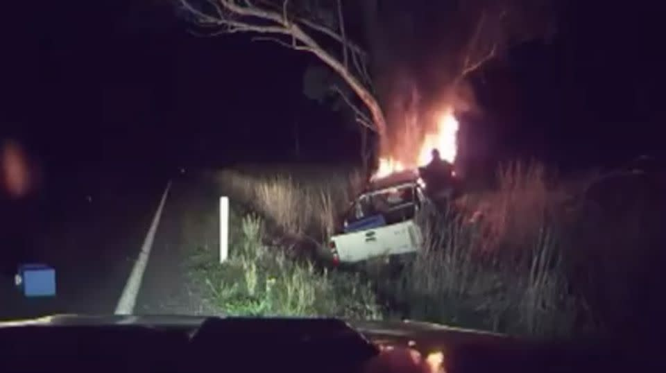 Michael Van Baast discovered the crashed ute on the Olympic Highway and rescued the trapped driver. Picture: 7 News