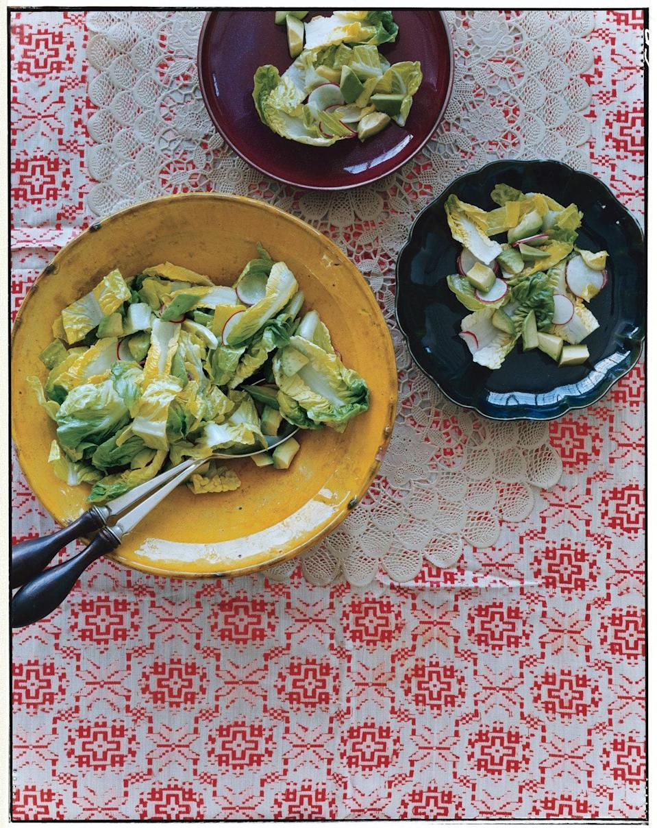 """Buttery chunks of bite-sized avocado, little hits of radish heat, sliced romaine, and a simple, lemony vinaigrette make for a crisp and refreshing salad. You can pull this together in 15 minutes. <a href=""""https://www.epicurious.com/recipes/food/views/avocado-salad-239998?mbid=synd_yahoo_rss"""" rel=""""nofollow noopener"""" target=""""_blank"""" data-ylk=""""slk:See recipe."""" class=""""link rapid-noclick-resp"""">See recipe.</a>"""