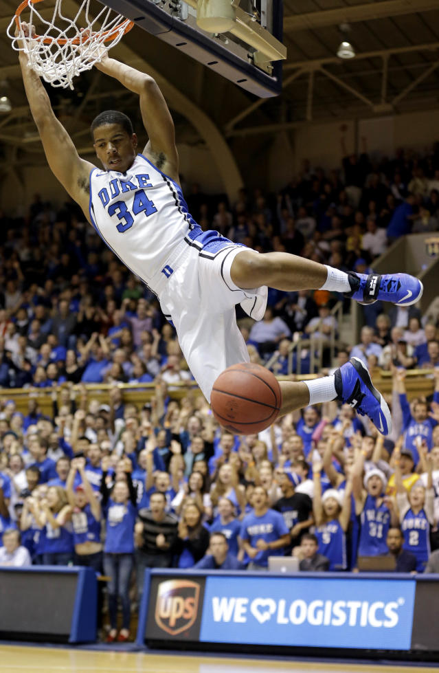 Duke's Andre Dawkins (34) dunks against East Carolina during the first half of an NCAA college basketball game in Durham, N.C., Tuesday, Nov. 19, 2013. (AP Photo/Gerry Broome)