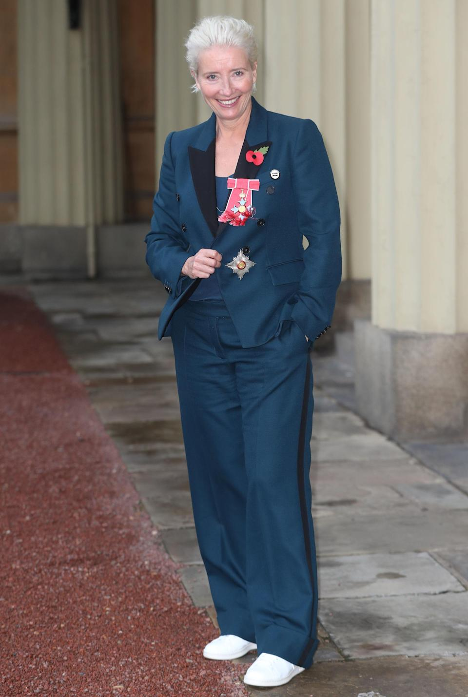 <p>Actress Emma Thompson eschewed tradition for a trip to Buckingham Palace, as she wore a navy co-ord and trainers to meet Prince William. The 59-year-old was awarded a damehood for her impressive three-decades long service to drama. <em>[Photo: Getty]</em> </p>