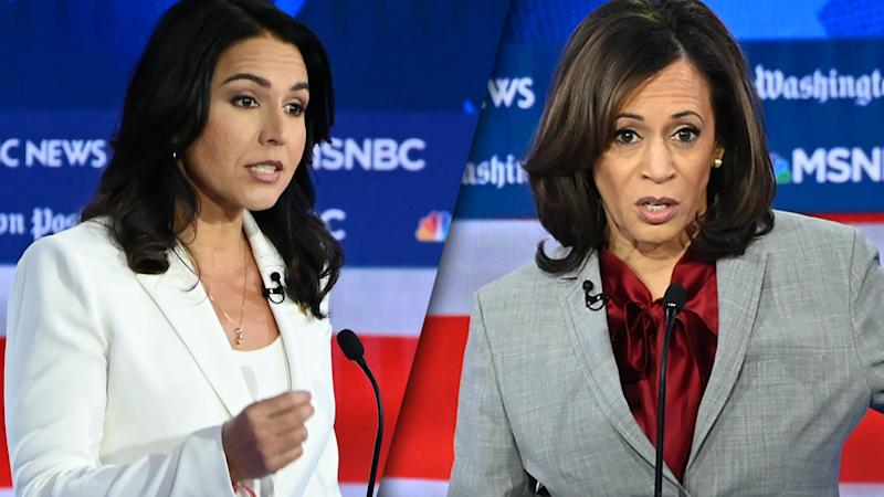 Rep. Tulsi Gabbard, D-Hawaii, and Sen. Kamala Harris, D-Calif. (Photos: Saul Loeb/AFP via Getty Images)