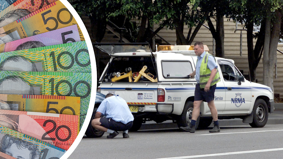 Two NRMA roadside assistance servicemen with an NRMA car and Australian currency.