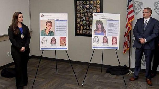 PHOTO: Police investigators announced the identification of two women whose bodies were found decades ago in League City, Texas, in a press conference on April 15, 2019. (KTRK)