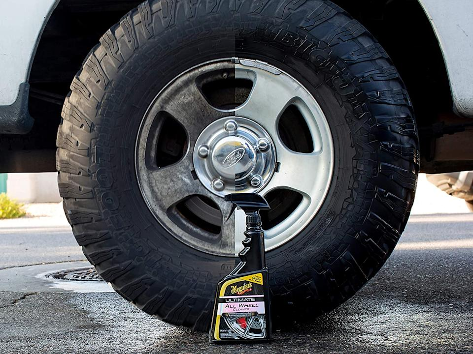 Meguiar's Ultimate All Wheel Cleaner adds shine to your tires - minus the effort. Image via Amazon.