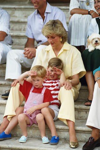 <p>The Princess of Wales spends a holiday with her family and the Spanish royals at Marivent Palace, Majorca, August 1987. <em>[Photo: Getty]</em> </p>