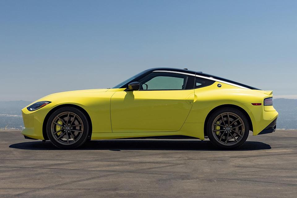 The new 2023 Nissan Z Proto Spec, a limited edition launch version of the new sports car. Here the coupe is feature in Ikazuchi Yellow.