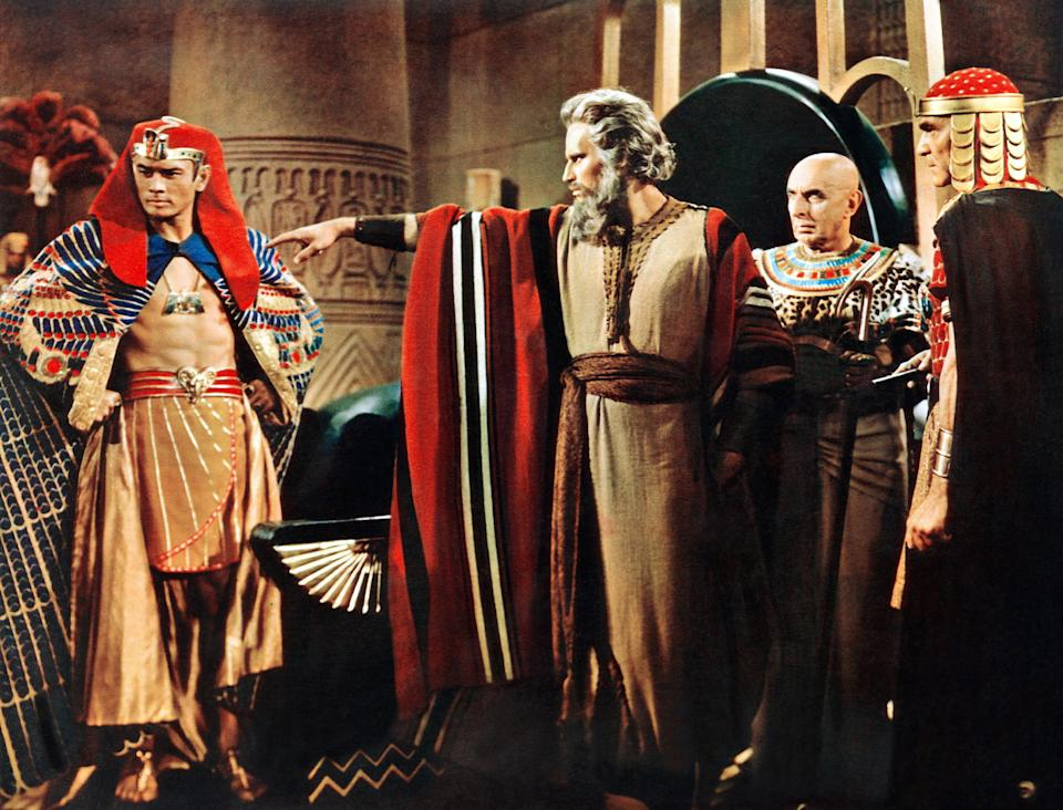 Yul Brynner, Charlton Heston, Cedric Hardwicke and Henry Wilcoxon in a scene from 'The Ten Commandments' (Photo: Courtesy Everett Collection)