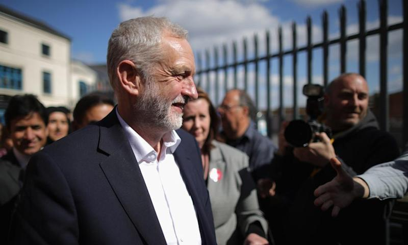 Jeremy Corbyn in Birmingham on 18 April.