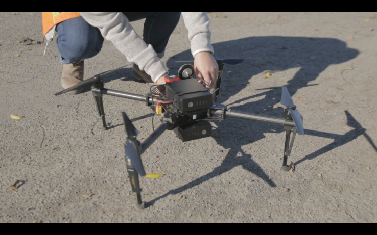 A DJI drone, customized and operated by Skycision, is used to study the health of vineyards.