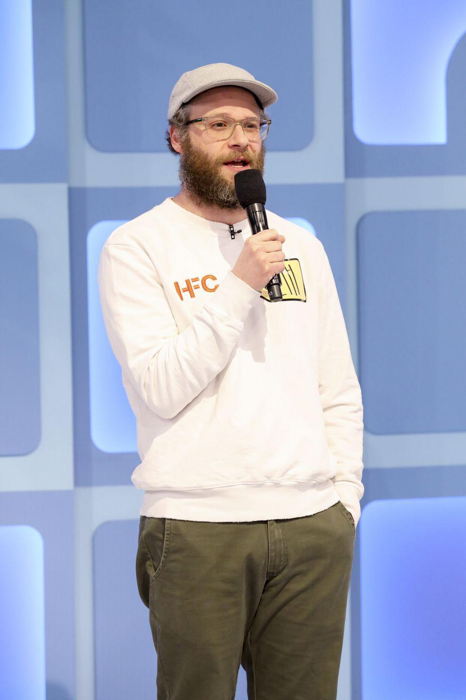 """<p><a href=""""https://www.menshealth.com/entertainment/a31736814/seth-rogen-stoned-live-tweeted-cats/"""" rel=""""nofollow noopener"""" target=""""_blank"""" data-ylk=""""slk:Rogen"""" class=""""link rapid-noclick-resp"""">Rogen</a>'s typical appearance usually has some sort of facial hair and a cool pair of frames. And does he look good in them? Why yes, he does. </p>"""