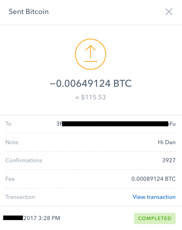 A transaction record from Coinbase