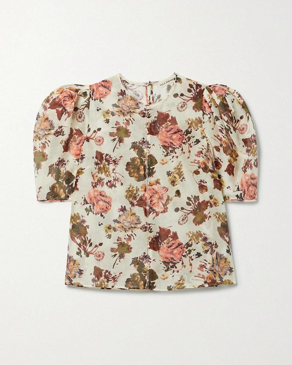 """""""I've had this on my wishlist for a couple of months. It's breezy and feminine and would look just as great by itself with a pair of straight leg jeans or toughened up a little bit under a leather jacket in the fall."""" - <em>Daisy Shaw-Ellis, Accessories Director</em> $395, Net-a-Porter. <a href=""""https://www.net-a-porter.com/en-us/shop/product/ulla-johnson/clothing/blouses/lise-floral-print-cotton-and-silk-blend-top/2204324139871092"""" rel=""""nofollow noopener"""" target=""""_blank"""" data-ylk=""""slk:Get it now!"""" class=""""link rapid-noclick-resp"""">Get it now!</a>"""