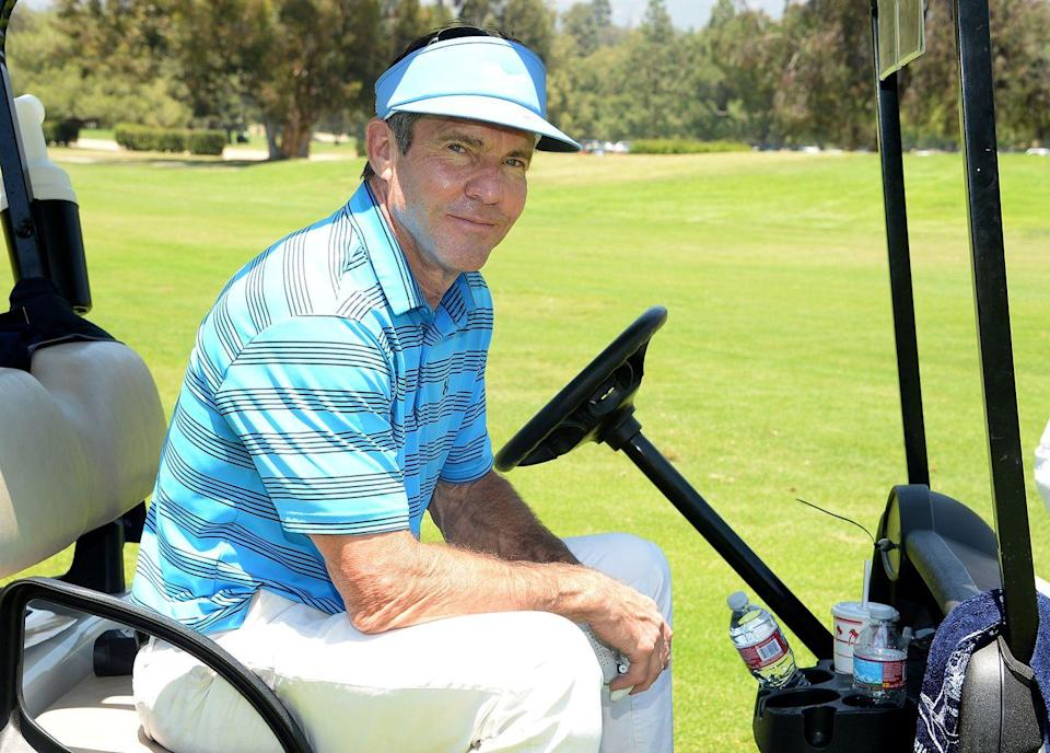 <p>Dennis Quaid attends the Los Angeles Police Memorial Foundation Celebrity Golf Tournament at Brookside Golf Club in June 2015. </p>