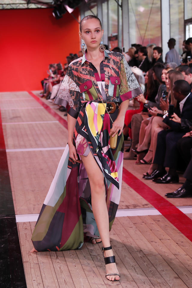 A model wears a creation as part of the Elie Saab Ready To Wear Spring-Summer 2020 collection, unveiled during the fashion week, in Paris, Saturday, Sept. 28, 2019. (AP Photo/Francois Mori)