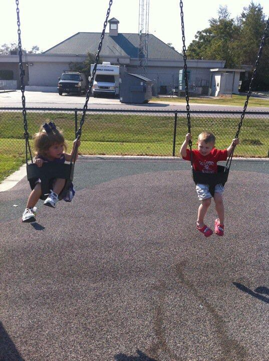 Mylee and Merce on the swings together. (Photo: Glen Meynardie)