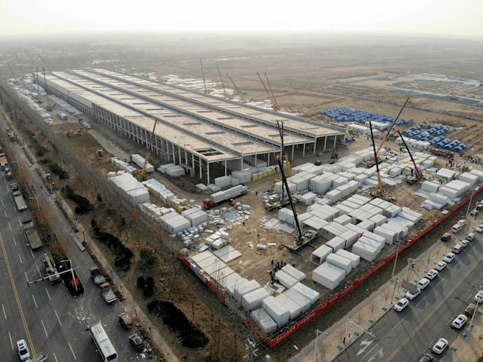 Aerial photo taken on January 19, 2021 shows a COVID-19 quarantine center under construction in Nangong City, in China's Hebei Province. / Credit: Xinhua/Getty
