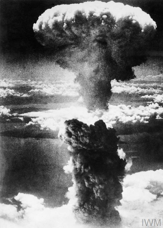 The mushroom cloud produced by the dropping of the second atomic bomb on Nagasaki, 9 August 1945 (© US Public Domain (IWM MH 2629) )