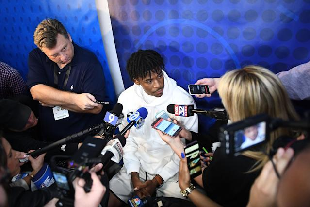 Ja Morant is the center of attention at the NBA draft combine Thursday in Chicago. (Stacy Revere/Getty Images)