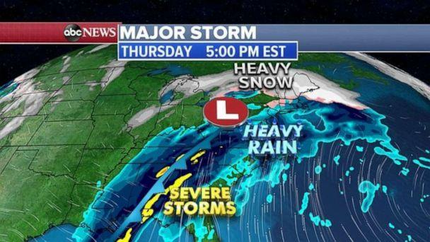 PHOTO: The strongest part of the storm system will reach the East Coast with thunderstorms that could produce damaging winds in the Carolinas and Florida and heavy rain and some snow and ice in the Northeast. (ABC News)