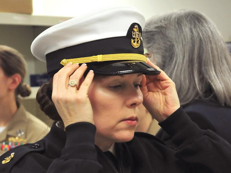 US Navy woman female uniform hat