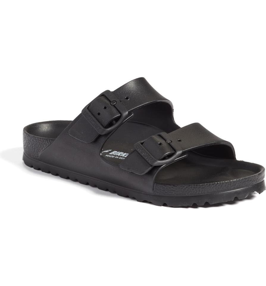 """<p><strong>Birkenstock</strong></p><p>nordstrom.com</p><p><strong>$39.95</strong></p><p><a href=""""https://go.redirectingat.com?id=74968X1596630&url=https%3A%2F%2Fshop.nordstrom.com%2Fs%2Fbirkenstock-essentials-arizona-slide-sandal-women%2F4152948&sref=http%3A%2F%2Fwww.prevention.com%2Fbeauty%2Fstyle%2Fg28211694%2Fbest-sandals-for-plantar-fasciitis%2F"""" target=""""_blank"""">SHOP NOW</a></p><p>Birkenstocks are known for creating supportive sandals.  The original Birkenstocks were invented with a <strong>contoured footbed and anatomically shaped insoles </strong>to match the natural curves of your foot. Since then, they have honed their craft to create shock-absorbing soles to reduce pressure on the plantar fascia. This updated version has all of those amazing features, plus adjustable straps with a buckle closure and an EVA upper that gives you freedom of movement. </p>"""