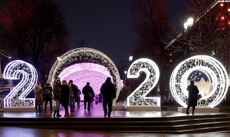 MOSCOW, RUSSIA DECEMBER 15, 2019: A sign 2020 made of festive lights in Tverskoy Boulevard ahead of the holiday season. Artyom Geodakyan/TASS (Photo by Artyom Geodakyan\TASS via Getty Images)