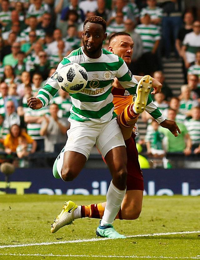 Soccer Football - Scottish Cup Final - Celtic vs Motherwell - Hampden Park, Glasgow, Britain - May 19, 2018 Celtic's Moussa Dembele in action with Motherwell's Tom Aldred Action Images via Reuters/Jason Cairnduff