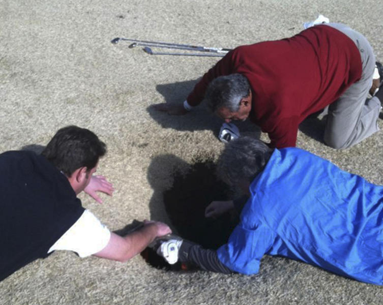 In this cell phone image taken March 8, 2013 and provided by golfmanna.com, Hank Martinez, top, Ed Magaletta, right, and Russ Nobbe, look into an 18-foot-deep and 10-foot- wide sinkhole that golfer Mark Minhal fell into while playing golf at the Annbriar Golf Course in Waterloo, Ill. Mihal, 43, a mortgage broker from Creve Coeur, Mo., was hoisted to safety with a rope and suffered a dislocated shoulder. (AP Photo/Courtesy of golfmanna.com, Mike Peters)