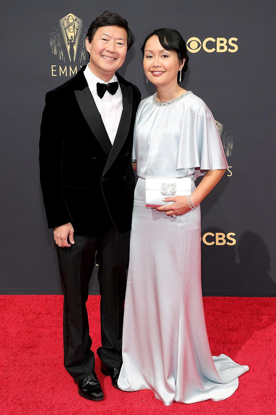 <p>Actor Ken Jeong and wife Tran cleaned up well for the red carpet, with Ken looking dapper in a velvet tux and Tran shimmering in silver. </p>