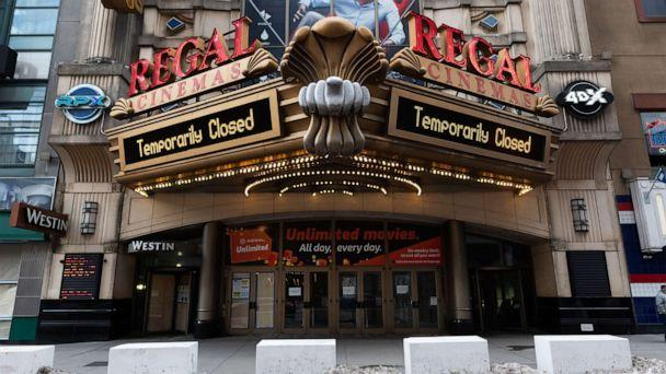 PHOTO: A view of the Regal E-Walk movie theater in Times Square as the city continues the re-opening efforts following restrictions imposed to slow the spread of coronavirus, Dec. 23, 2020, in New York. (Noam Galai/Getty Images)