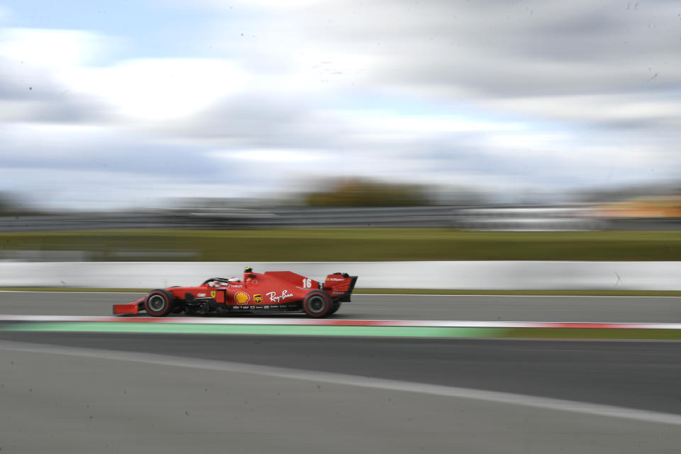 Ferrari driver Charles Leclerc of Monaco steers his car during the qualifying session for the Eifel Formula One Grand Prix at the Nuerburgring racetrack in Nuerburg, Germany, Saturday, Oct. 10, 2020. The Germany F1 Grand Prix will be held on Sunday. (Ina Fassbender, Pool via AP)